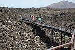 Walkway over lava field, Timanfaya Volcano Interpretation and Visitors' Centre, Lanzarote, Canary Islands, Spain