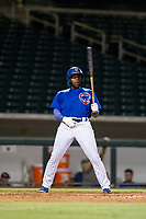 AZL Cubs shortstop Delvin Zinn (21) exhales before an at bat during a game against the AZL Athletics on August 9, 2017 at Sloan Park in Mesa, Arizona. AZL Athletics defeated the AZL Cubs 7-2. (Zachary Lucy/Four Seam Images)