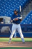 AZL Brewers Blue Kevin Hardin (63) at bat during an Arizona League game against the AZL Brewers Gold on July 13, 2019 at American Family Fields of Phoenix in Phoenix, Arizona. The AZL Brewers Blue defeated the AZL Brewers Gold 6-0. (Zachary Lucy/Four Seam Images)