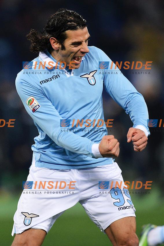 Esultanza di Sergio Floccari Lazio 1-0.Goal celebration .Roma 09/02/2013 Stadio Olimpico.Football Calcio 2012/2013 Serie A.Lazio Vs Napoli.Foto Andrea Staccioli Insidefoto