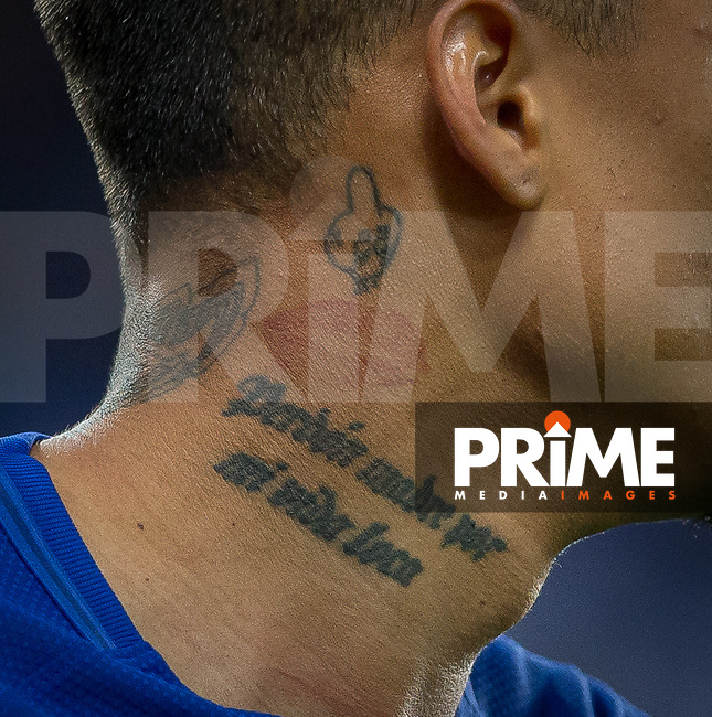 Kenedy of Chelsea neck tattoo displaying 'Perdon Madre Por Mi Vida Loca' 'Sorry Mom for my Crazy Life' during the Carabao Cup round of 16 match between Chelsea and Everton at Stamford Bridge, London, England on 25 October 2017. Photo by Andy Rowland.
