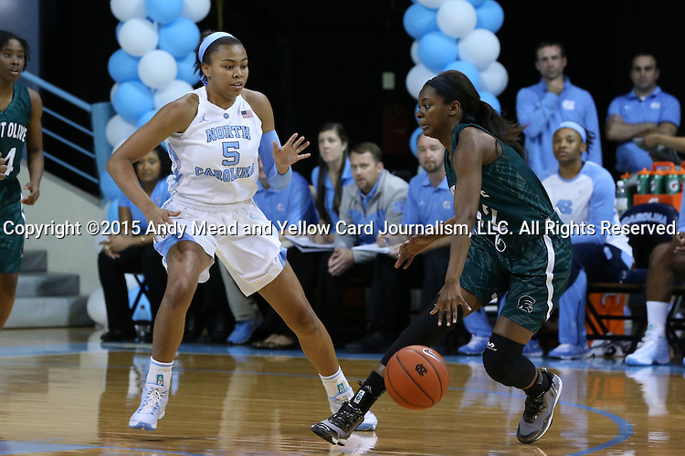 09 November 2015: North Carolina's Stephanie Watts (5) and Mount Olive's Ni'ya Styles (2). The University of North Carolina Tar Heels hosted the University of Mount Olive Trojans at Carmichael Arena in Chapel Hill, North Carolina in a 2015-16 NCAA Women's Basketball exhibition game. UNC won the game 99-45.