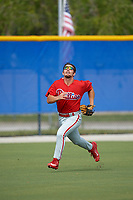 Philadelphia Phillies left fielder Austin Listi (24) tracks down a fly ball during an Instructional League game against the Toronto Blue Jays on October 7, 2017 at the Englebert Complex in Dunedin, Florida.  (Mike Janes/Four Seam Images)