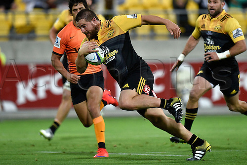 09.04.2016. Wellington, New Zealand.  Dane Coles captain of the Hurricanes runs with the ball during the Hurricanes versus Jaguares Super Rugby match at the Westpac Stadium in Wellington on Saturday 9thApril 2016.