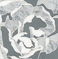 Peace Rose, a stone water jet mosaic, shown in Carrara, Bardiglio, and Thassos, is part of the Ann Sacks Beau Monde collection sold exclusively at www.annsacks.com