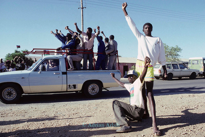 Black Namibians celebrate the SWAPO  victory of the  first democratic namibian  elections in 1989. Windhoek, Namibia.
