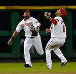 15 September 2007: Washington Nationals outfielder Wily Mo Pena (left) tracks down a fly ball during game action against the Atlanta Braves at Robert F. Kennedy Memorial Stadium in Washington, DC. The Nationals defeated the Braves 7-4 in the second game of their 3-game series...Mandatory Photo Credit: Ed Wolfstein Photo