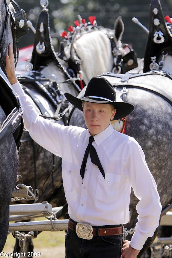 Kelby Tannas, 16, of Valley View Percherons. NW Washington Fair. August 20, 2009 PHOTOS BY MERYL SCHENKER