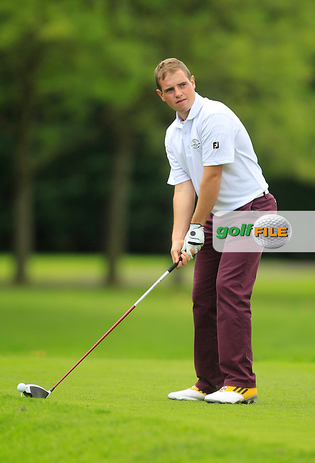 Declan Reidy (Co. Sligo) on the 18th green during for the AIG Cups &amp; Shields Finals in Royal Tara Golf Club on Thursday 19th September 2013.<br /> Picture:  Thos Caffrey / www.golffile.ie