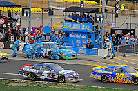 Aric Almirola (#43) makes a pit stop.