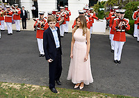 First Lady Melania Trump and son Barron Trump attend the annual Easter Egg Roll on the South Lawn of the White House  in Washington, DC, on April 17, 2017. <br /> CAP/MPI/CNP/RS<br /> &copy;RS/CNP/MPI/Capital Pictures