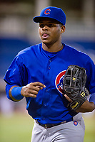 AZL Cubs left fielder Nelson Velazquez (20) jogs off the field between innings of the game against the AZL Brewers on August 24, 2017 at Maryvale Baseball Park in Phoenix, Arizona. AZL Cubs defeated the AZL Brewers 9-1. (Zachary Lucy/Four Seam Images)