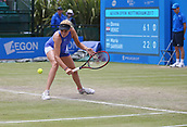 June 16th 2017, Nottingham, England; WTA Aegon Nottingham Open Tennis Tournament day 5;  Donna Vekic of Croatia reaches for a low backhand as she defeated Maria Sakkari of Greece in the quarter final