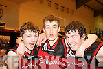 St Mary's l-r: Declan Cahill, Donagh O'Connell and Padraig Lucey celebrate at the final buzzer after defeating Maree in the U18 National Cup semi final at the Neptune Stadium Cork on Saturday