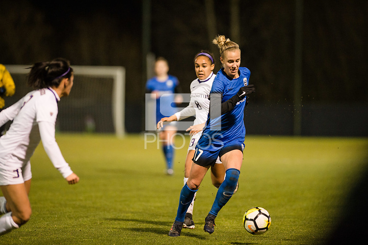 Seattle, WA - Thursday, March, 08, 2018: Beverly Yanez during a preseason match between the Seattle Reign FC and University of Washington at Husky Soccer Stadium.