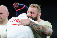 Joe Marler of England embraces England Rugby Defence Coach Paul Gustard after the match. RBS Six Nations match between England and France on February 4, 2017 at Twickenham Stadium in London, England. Photo by: Patrick Khachfe / Onside Images