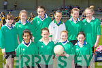 Currow NS who put their talent on show at the County Primary Schools Football final in Beaufort on Thursday front row l-r: Aoife Walsh, Sharon Breen, Rachel O'Connor, Amy Galwey. Back row: Kathleen O'Sullivan, Sarah Courtney, Christine McMahon, Michaela Breen, Hannah O'Connor and Siobhain Kelly