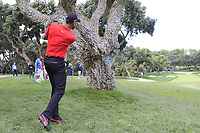Alvaro Quiros (ESP) in the rough for his 2nd shot on the 10th hole during Friday's storm delayed Round 2 of the Andalucia Valderrama Masters 2018 hosted by the Sergio Foundation, held at Real Golf de Valderrama, Sotogrande, San Roque, Spain. 19th October 2018.<br /> Picture: Eoin Clarke | Golffile<br /> <br /> <br /> All photos usage must carry mandatory copyright credit (&copy; Golffile | Eoin Clarke)