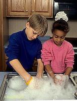 BH22-189x  Bubbles - children washing dishes