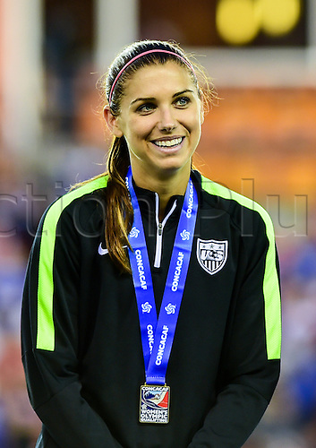 21.02.2016. Houston, TX, USA. United States Forward Alex Morgan (13) after medal presentation following the Women's Olympic qualifying soccer final between Canada and USA at BBVA Compass Stadium in Houston, Texas.