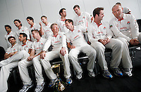 PICTURE BY VAUGHN RIDLEY/SWPIX.COM - Cricket - County Championship - Lancashire County Cricket Club 2012 Media Day - Old Trafford, Manchester, England - 03/04/12 - The Lancashire CCC players gather in The Point for the 2012 photo call.  Captain Glen Chapple (centre), Paul Horton, Tom Smith and Gary Keedy.