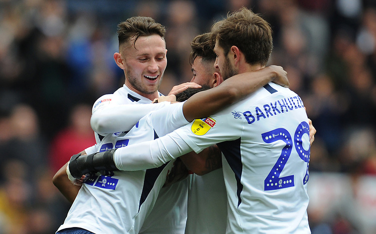 Preston North End's Daniel Johnson celebrates scoring the opening goal with team-mates Alan Browne, Sean Maguire and Tom Barkhuizen<br /> <br /> Photographer Kevin Barnes/CameraSport<br /> <br /> The EFL Sky Bet Championship - Preston North End v Barnsley - Saturday 5th October 2019 - Deepdale Stadium - Preston<br /> <br /> World Copyright © 2019 CameraSport. All rights reserved. 43 Linden Ave. Countesthorpe. Leicester. England. LE8 5PG - Tel: +44 (0) 116 277 4147 - admin@camerasport.com - www.camerasport.com