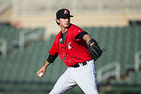 Kannapolis Intimidators relief pitcher Danny Dopico (29) in action against the Hagerstown Suns at Kannapolis Intimidators Stadium on June 14, 2017 in Kannapolis, North Carolina.  The Intimidators defeated the Suns 4-1 in game one of a double-header.  (Brian Westerholt/Four Seam Images)