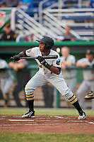 West Virginia Black Bears second baseman Melvin Jimenez (7) squares around to bunt during a game against the Batavia Muckdogs on June 18, 2018 at Dwyer Stadium in Batavia, New York.  Batavia defeated West Virginia 9-6.  (Mike Janes/Four Seam Images)