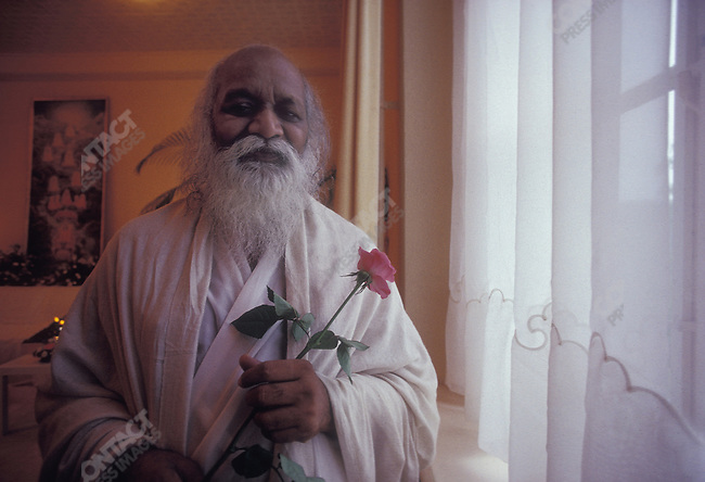 Maharishi Mahesh Yogi, Transcendental Meditation Exponent, retreat near Voldrop, Holland, August, 1990