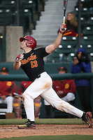 Kaleb Murphy #13 of the Southern California Trojans bats against the Coppin State Eagles at Dedeaux Field on February 18, 2017 in Los Angeles, California. Southern California defeated Coppin State, 22-2. (Larry Goren/Four Seam Images)
