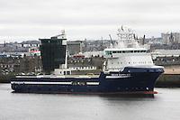 Oil Supply ship Solvik Supplier leaving Aberdeen harbour.
