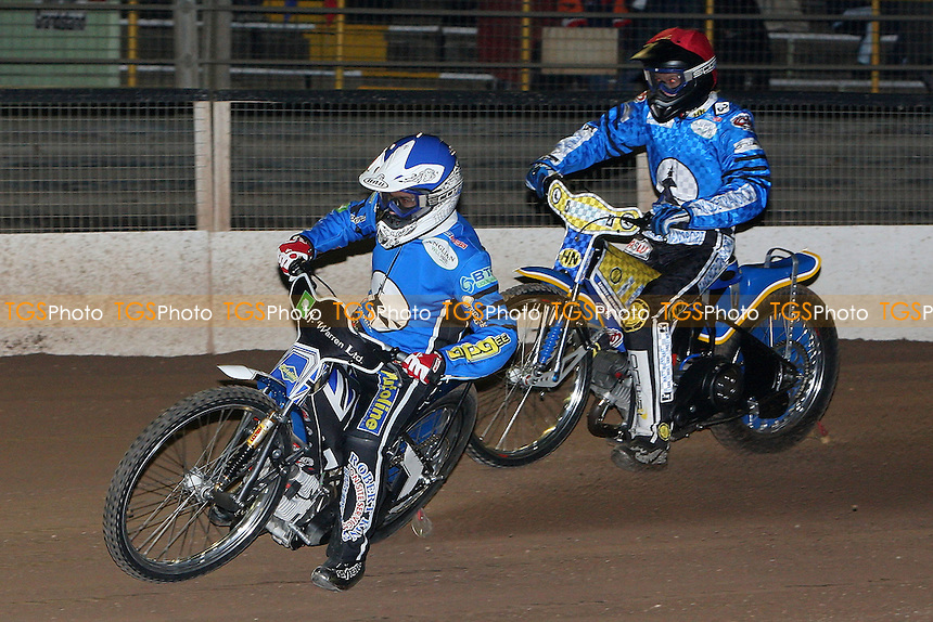 Heat 3: Danny King (blue) and Tobi Kroner of Ipswich lead out - Ipswich Witches vs Lakeside Hammers - Speedway Challenge Match First Leg at Foxhall Stadium, Ipswich, Suffolk - 19/03/09 - MANDATORY CREDIT: Gavin Ellis/TGSPHOTO - Self billing applies where appropriate - 0845 094 6026 - contact@tgsphoto.co.uk - NO UNPAID USE.