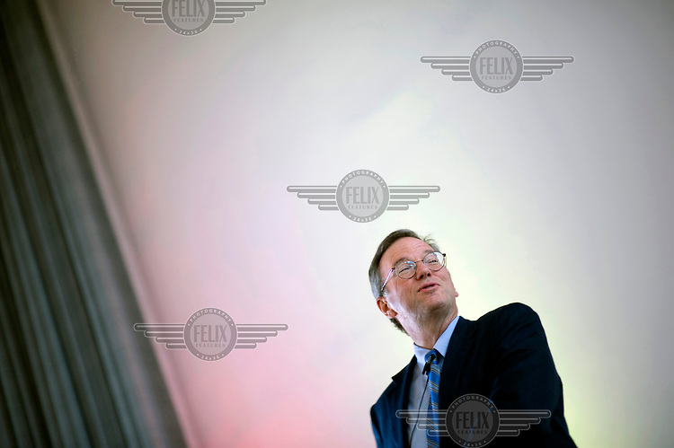 Eric Emerson Schmidt, CEO and Chairman of the Board of Google Inc at a talk about Google in Europe at Humboldt University in Berlin. .