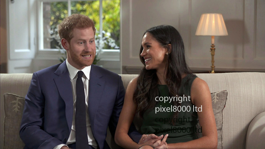 Pooled TV interview shows: Meghan Markle and Harry Wales<br /> engagement interview on TV<br /> <br /> <br /> Pic supplied by Pixel8000 Ltd