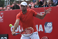 BOGOTA- COLOMBIA 23-07-2015: Ivo Karlovic de Croacia devuelve la bola a Daniel Galan de Colombia, durante partido del ATP Claro Open Colombia de Tenis en las canchas del Centro de Alto rendimiento en Altura en la ciudad de Bogota. / Ivo Karlovic of Croatia returns the ball to Daniel Galan of Colombia during a match to the ATP Claro Open Colombia of Tennis in the courts of the High Performance Center in Altura in Bogota City. Photo: VizzorImage / Luis Ramirez / Staff.