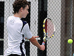 (Boston Ma 051814) Patrick Wyeth of Cape Code Academy, during his match with Mike Melampy of Duxbury High, Wyeth won the set, during the  South Sectional Finals, Sunday at Newton North High School, Sunday, May 18, 2014, in Newton. (Jim Michaud Photo) for Sunday