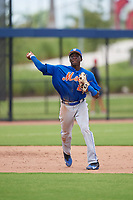 GCL Mets third baseman Jaylen Palmer (22) throws to first base during a game against the GCL Nationals on August 4, 2018 at FITTEAM Ballpark of the Palm Beaches in West Palm Beach, Florida.  GCL Nationals defeated GCL Mets 7-4.  (Mike Janes/Four Seam Images)