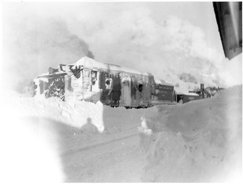 Rotary snowplow working snow on Cumbres Pass.<br /> D&amp;RGW  Cumbres Pass, CO