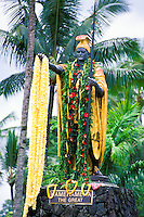 Statue of King Kamehameha draped with leis, ruler of the united the Hawaiian islands, taken on  Kamehamema day in June
