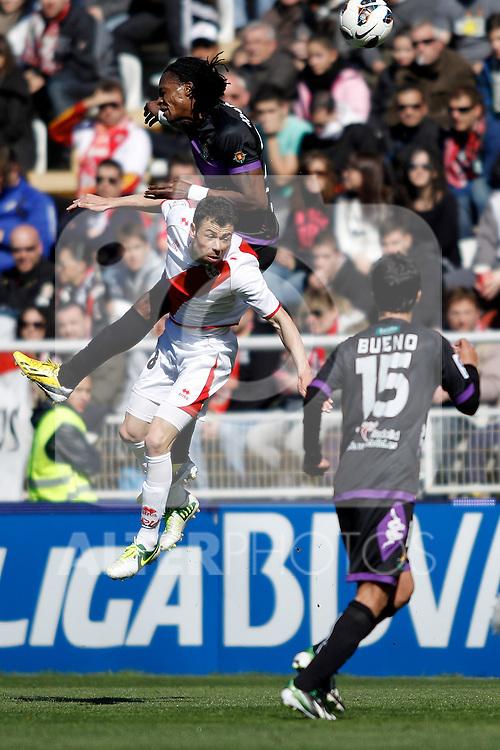 Rayo Vallecano's Javi Fuego and Real Valladolid's Manucho and Bueno during La Liga  match. February 24,2013.(ALTERPHOTOS/Alconada)