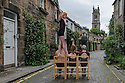 Edinburgh, UK. 04.08.2016. Members of Australian circus troupe, Circa, limber up in Circus Lane, Stockbridge, ahead of their run at the Underbelly, as part of the Edinburgh Festival Fringe. L to r: Kimberley O'Brien (balancing), Jarred Dewey, Lisa Goldsworthy, Lauren Herley. Photograph © Jane Hobson.