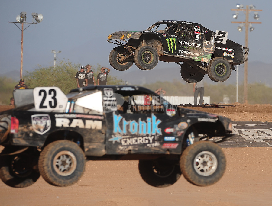 Apr 17, 2011; Surprise, AZ USA; LOORRS driver Jeremy McGrath (2) and John Gaston (23) during round 4 at Speedworld Off Road Park. Mandatory Credit: Mark J. Rebilas-
