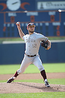 Corbin Martin (12) of the Texas A&M Aggies pitches against the Pepperdine Waves at Eddy D. Field Stadium on February 26, 2016 in Malibu, California. Pepperdine defeated Texas A&M, 7-5. (Larry Goren/Four Seam Images)