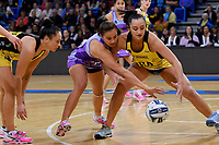 Pulse&rsquo; Tiana Metuarau and Stars&rsquo; Holly Fowler in action during the ANZ Premiership - Pulse v Northern Stars at Te Rauparaha Arena, Porirua, New Zealand on Monday 25 June 2018.<br /> Photo by Masanori Udagawa. <br /> www.photowellington.photoshelter.com