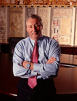 June 2000 exclusive photo - Charles G Cavell. Quebecor World CEO pose in the boardroom room at Montreal Headquaters