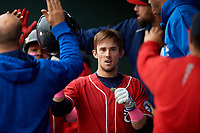 New Hampshire Fisher Cats second baseman Cavan Biggio (6) celebrates with his teammates in the dugout after hitting a home run in the top of the first inning during the first game of a doubleheader against the Harrisburg Senators on May 13, 2018 at FNB Field in Harrisburg, Pennsylvania.  New Hampshire defeated Harrisburg 6-1.  (Mike Janes/Four Seam Images)