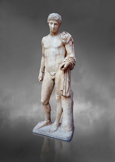 Roman marble statue of Hermes found at Aigion, Pelopenese. 27 BC- 14AD. Athens Archaeological Museum Cat No 241. Against grey<br /> <br /> Hermes is depicted standing wearing a chalamys that is wound around his lest arm. In his right hand he holds a purse and in his left a 'caduceus'. Augustan Roman period