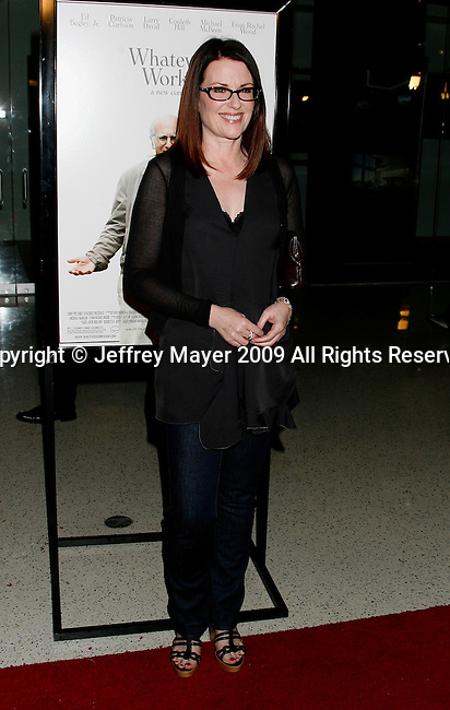 "WEST HOLLYWOOD, CA. - June 08: Actress Megan Mullally arrives at the Los Angeles premiere of ""Whatever Works"" at the Pacific Design Center on June 8, 2009 in West Hollywood, California."
