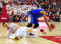 Alex Len of the Terrapins falls down while going after the ball. Maryland defeated Duke 81-83 at the Comcast Center in College Park, MD on Saturday, February 16, 2013. Alan P. Santos/DC Sports Box