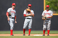 (L-R) Stephen King #6, Danny Espinosa #3 and Daniel Lyons #10 stand together during a pitching change at Wake Forest Baseball Park May 10, 2009 in Winston-Salem, North Carolina. (Photo by Brian Westerholt / Four Seam Images)